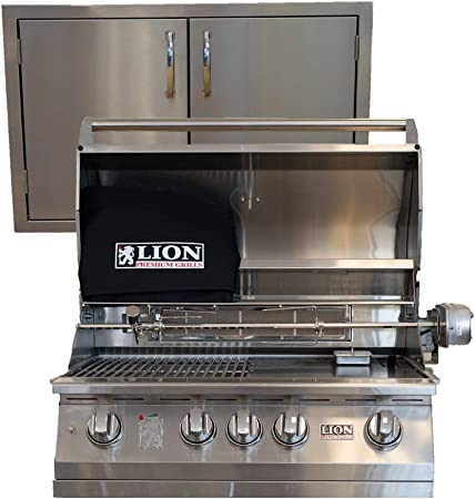 Amazon Com Lion Premium Grills L75000 32 Natural Gas Grill With Made In Usa 30 Double Door Package Deal Garden Outdoor