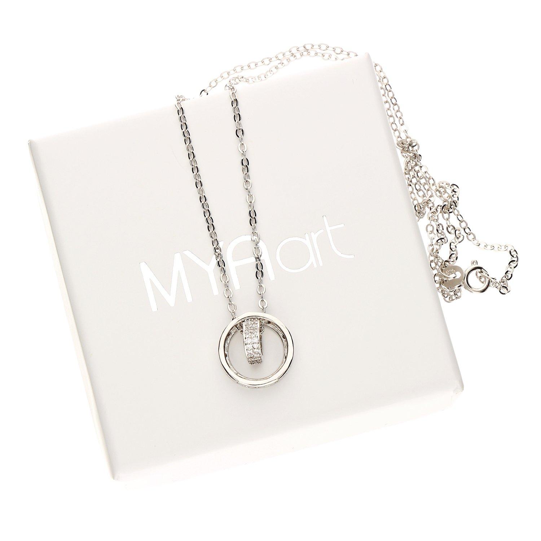 Mya tipo cadena collar 925 plata anillo con corazón colgante Swarovski Elements cristales brillantes anillos circular Mujer myasiket de 60: Amazon.es: ...