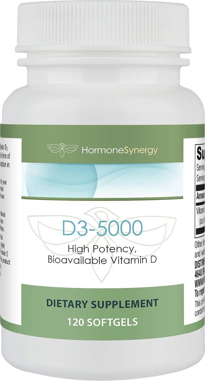 D3-5000 | 120 Softgels | High Potency Bioavailable Vitamin D3 | Pharmaceutical Grade