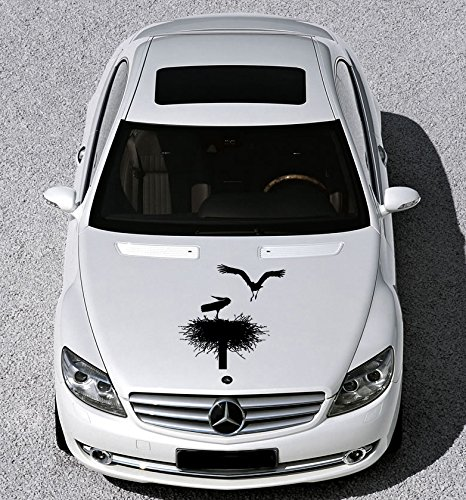 Any Car Hood Vinyl Decal Sticker Graphics Stork Nest Bird Animal Cute Design -
