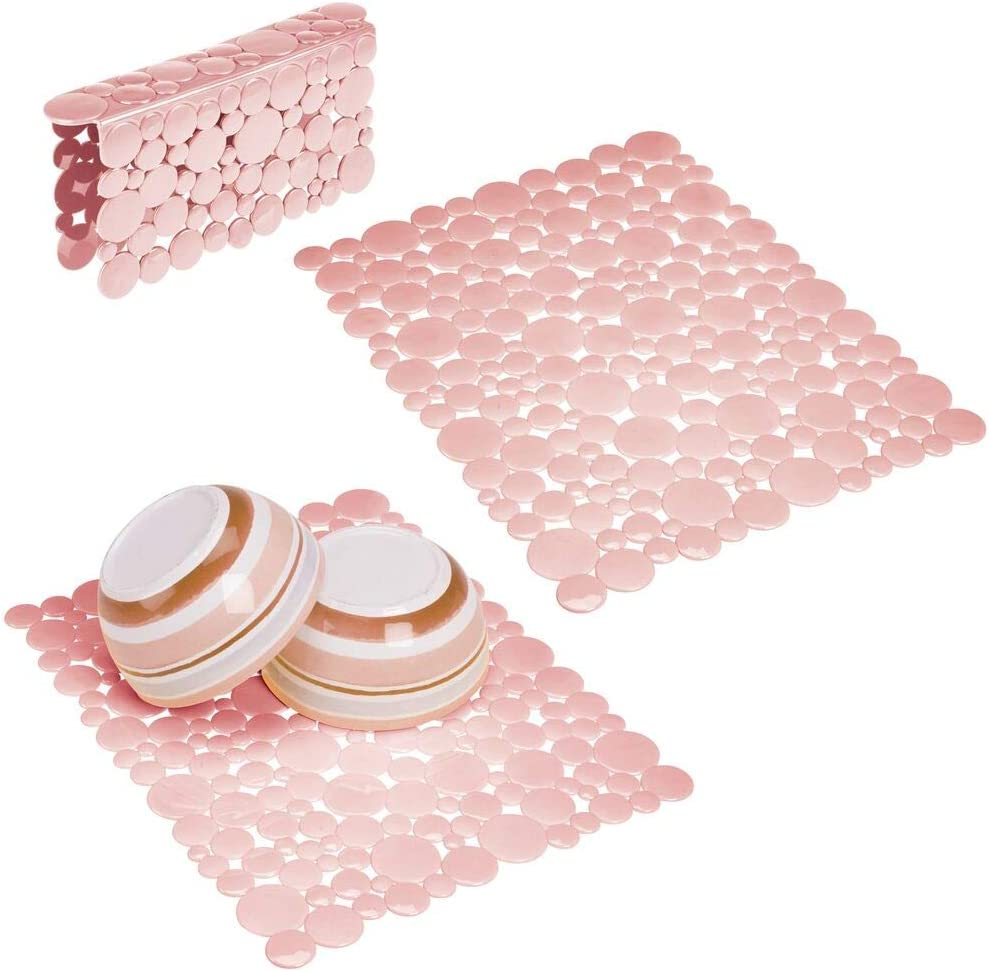 mDesign Decorative Kitchen Plastic Sink Protector Set, Quick Draining - Protect Surfaces and Dishes - Modern Bubble Design - Includes 1 Saddle, 2 Large Mats - Set of 3 - Light Pink/Blush