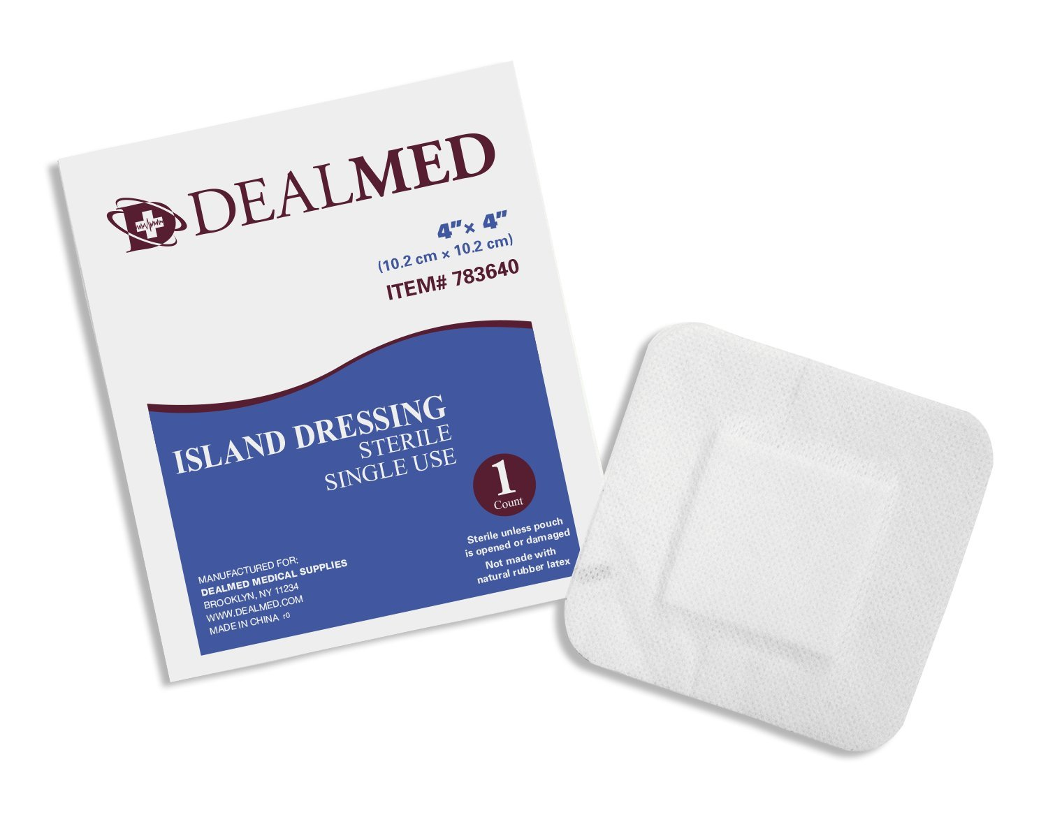 Sterile Island Dressing, Breathable Bordered Gauze, Non Stick, Latex Free (4 x 4)