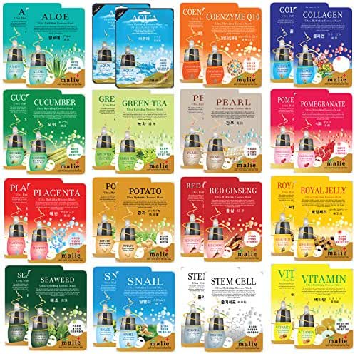 32 pcs Korean Ultra Hydrating Essence Mask Sheets (2 x 16 Types) Simple & Effective Skincare Routine | Moisturization | Wrinkle Care | Brightening | with
