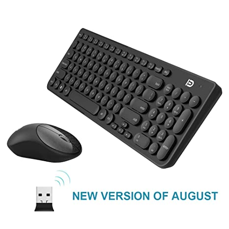 11d5fc7c998 Wireless Keyboard and Mouse Combo, FD iK6630 2.4GHz Cordless Cute Round Key  Set Smart