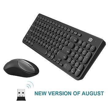 Combinación de Teclado y Mouse Inalámbricos, FD iK6630 2.4GHz Inalámbrico Redondo Lindo Conjunto de Teclas Ahorro de Energía Inteligente Whisper-Quiet Combo ...