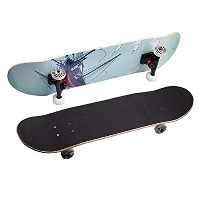 LHQ-HQ Skateboard Small Cruiser Skateboard Complete Skateboard with Sturdy Deck for Beginner for Beginner Skaters (Color : Blue, Size : 79x20cm) : Sports & Outdoors