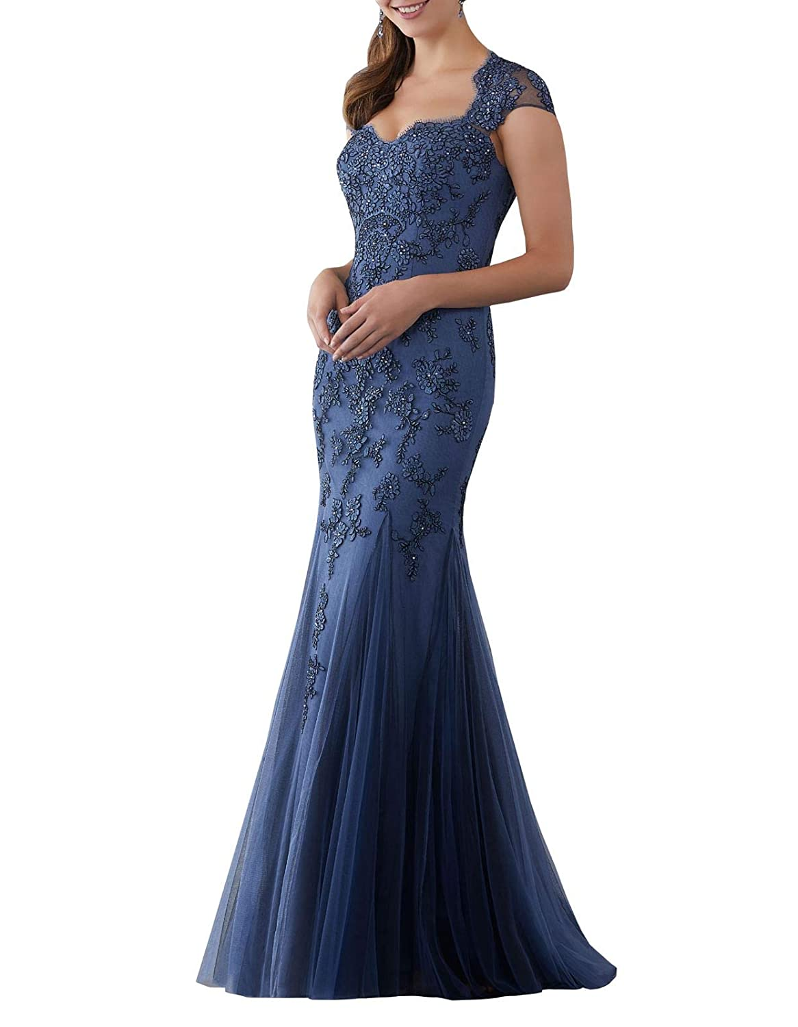 bluee Aishanglina Caps Shoulder Embroidered Appliques Beaded Evening Gown Floor Length Party Tulle Dress