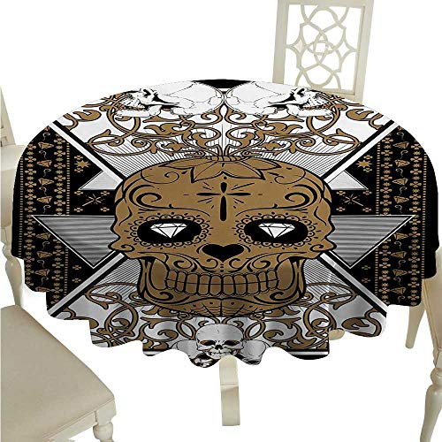 Tattoo Elegance Engineered Christmas Tablecloth Skull with Diamond Eyes and Floral Theme Vine Art Tattoo Renaissance Inspired Runners,Gatsby Wedding,Glam Wedding Decor,Vintage Weddings D50