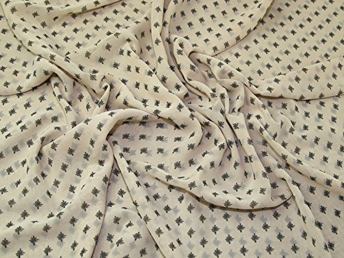 Repeat Print Polyester Chiffon Dress Fabric Beige - per metre ()