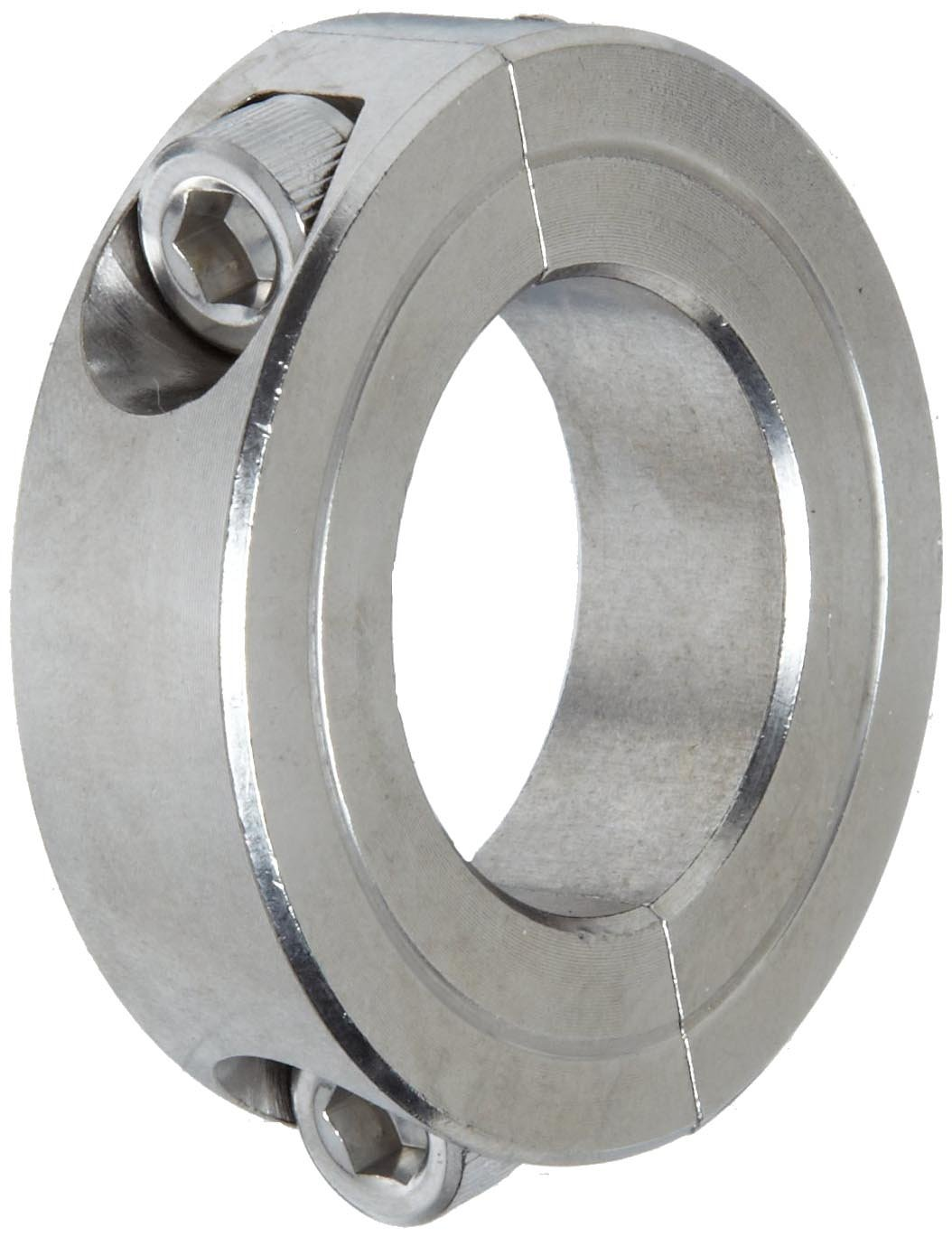 Climax Metal 2C-112-S T303 Stainless Steel Two-Piece Clamping Collar, 1-1/8'' Bore Size, 1-7/8'' OD, With 1/4-28 x 3/4 Set Screw
