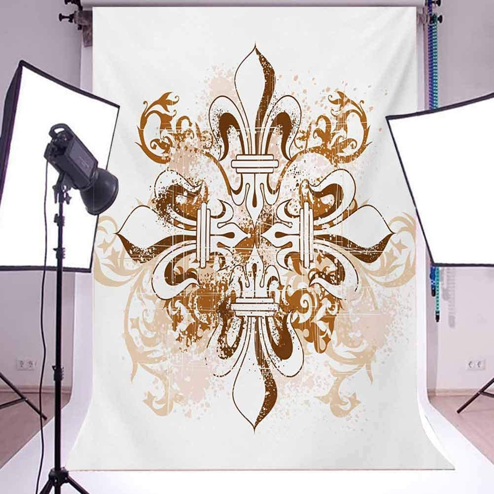 Fleur De Lis 6.5x10 FT Backdrop Photographers,Ancient Antique Heraldry Symbol Vintage Floral Swirls Traditional Old Fashion Background for Baby Birthday Party Wedding Vinyl Studio Props Photography