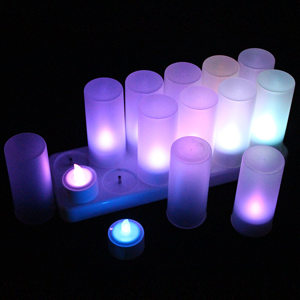 EuroFone LED Rechargeable Candle Flameless Tealight Multicolor with Remote Control (12pcs)