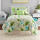 N2 6 Piece Neutral Lush Aqua Green Tropical Comforter Twin Set, Floral Botanical Bedding Hawaiian Themed Paradise Tropics Hawaii Plants Flowers Lush Colorful Beach Themed Island Ocean, Polyester