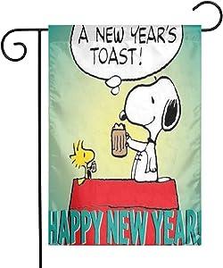 LYYTZ_id Snoopy Happy New Year 2019 Garden Flag Home Outdoor/Indoor Yard Flag 12 X 18 Inch