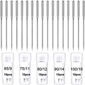 50Pcs Sewing Machine Needle Sharp Universal Regular Point for All Low Shank Snap-On Singer Brother Janome Sewing Machine