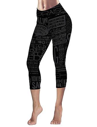 c49b5eac10304 LEO BON Capri Tights Running Workout Leggings Cropped Pants Black ...