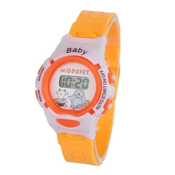 Transer reloj deportivo chicos chicas estudiantes tiempo pulsera electrónica Digital Sport Watch naranja: Amazon.es: Relojes