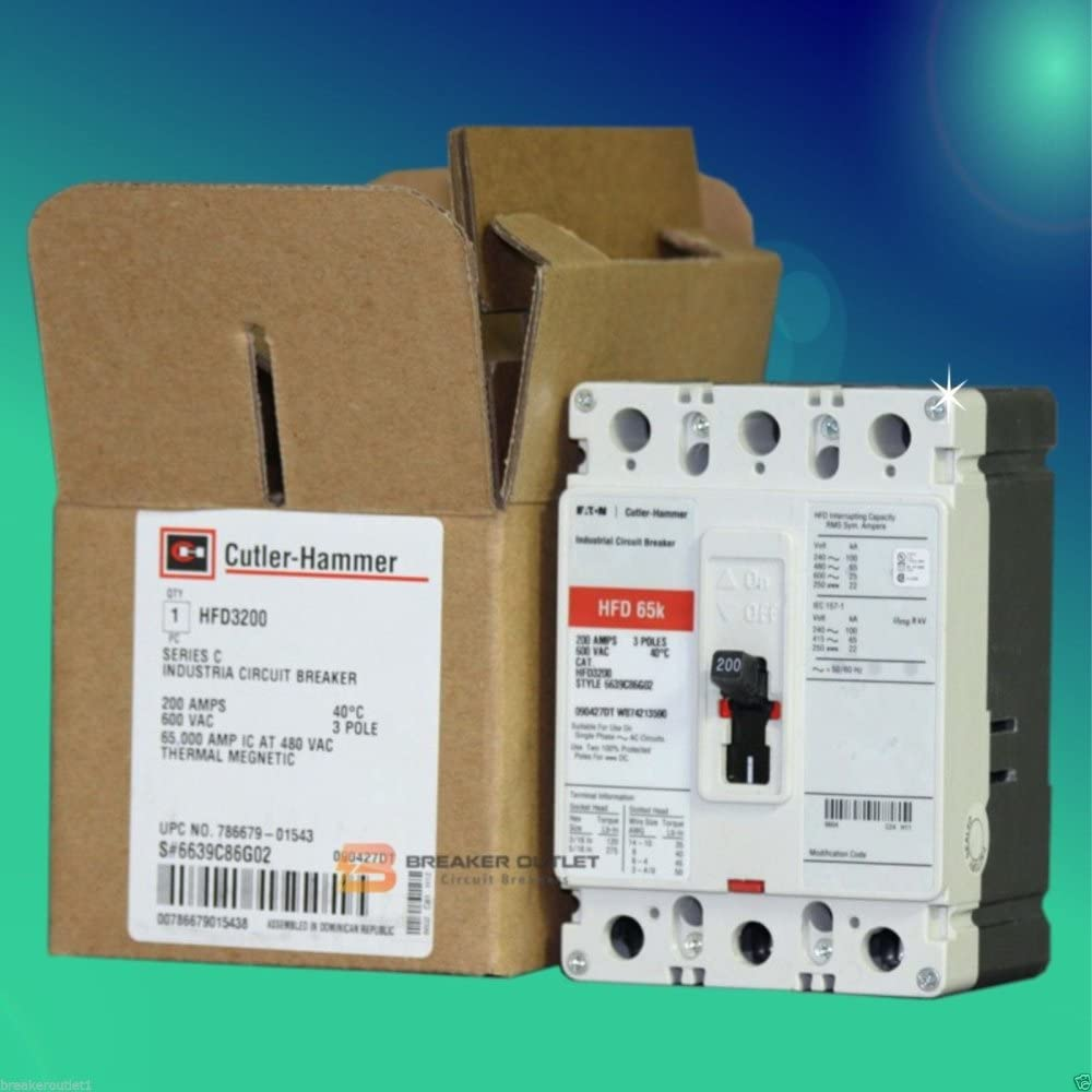 New Cutler Hammer Eaton Hfd3200 Circuit Breaker 3 Pole 200a 600v 65ka Series C Amazon Com
