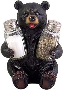 Season Beary Carefully Black Bear Salt and Pepper Shaker Holder 7 Inch (Shakers Included)