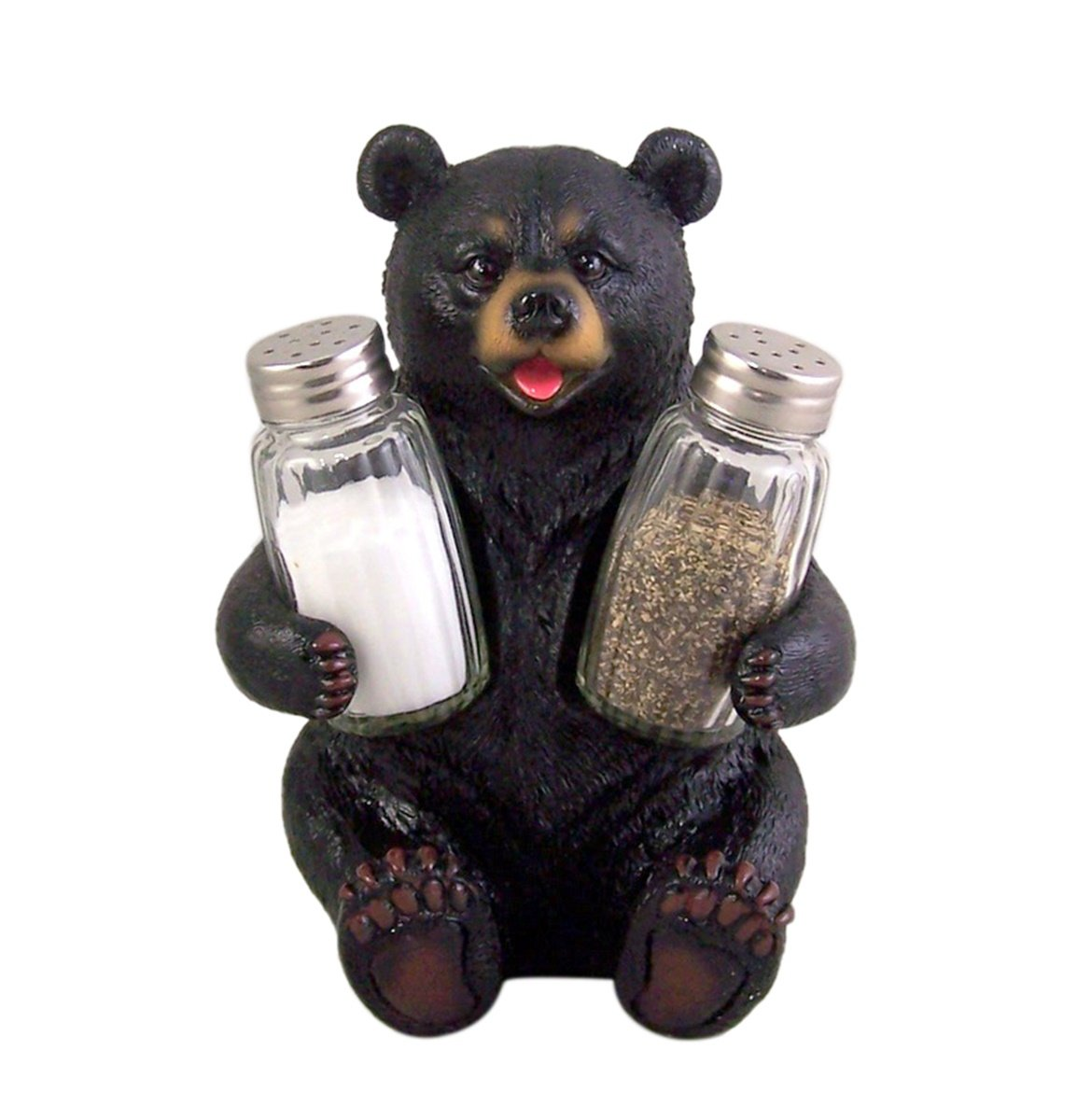Season Beary Carefully Black Bear Salt and Pepper Shaker Holder 7 Inch (Shakers Included)