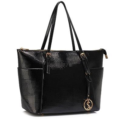 Womens Tote Handbags (Black) Ladies Large Tote Bag Designer Faux ...
