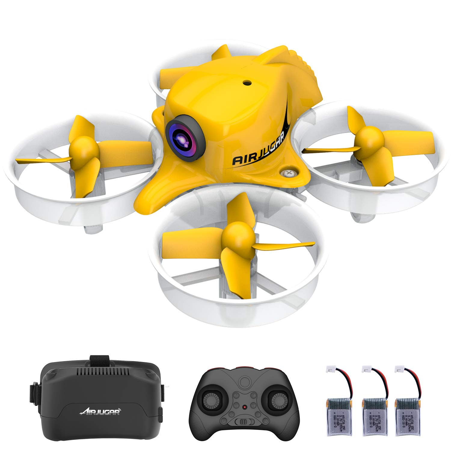 Mini FPV Drone Rc Nano Quadcopter 2.4ghz 6 Axis Gyro Drones with HD Camera for Kids and Beginners, Pocket Helicopter with Altitude Hold, Headless Mode, 3D Flips, 3 Batteries, 5.8G 8CH VR Goggles by AIRJUGAR