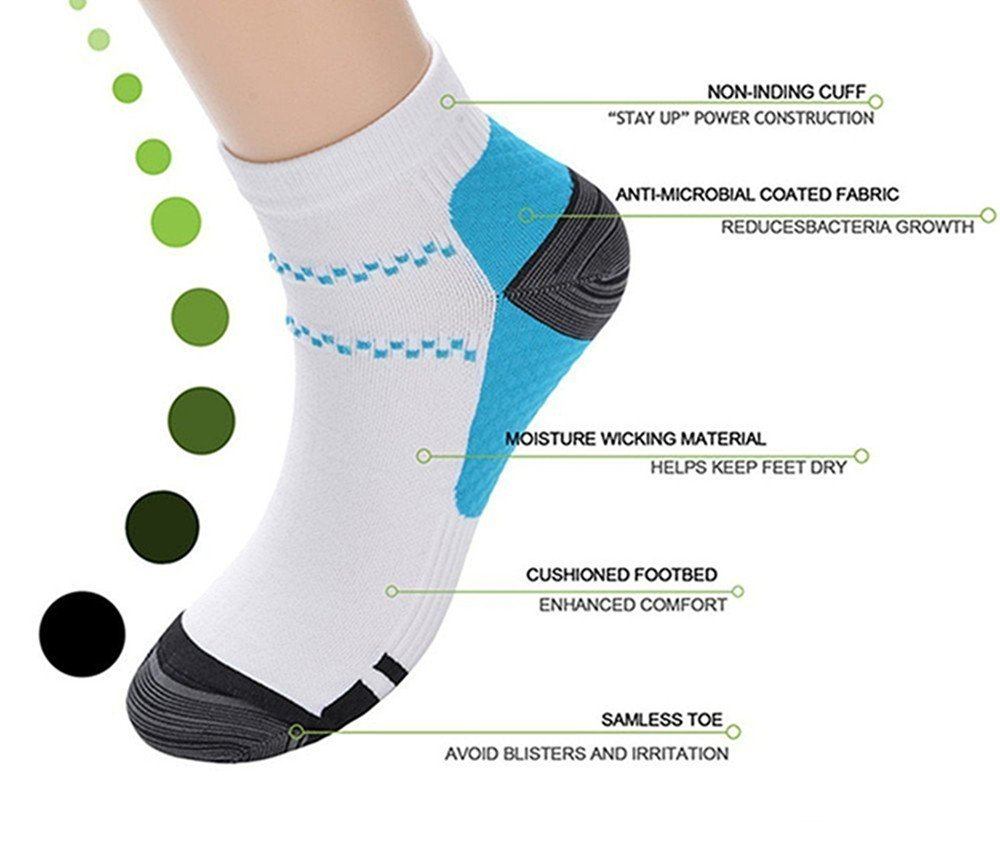 Aisprts 7 Pairs Ankle Compression Socks for Women and Men Plantar Fasciitis Socks