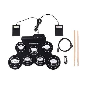 SUPVOX Juego de batería electrónica de Mesa Batería de Prácticas Eléctrica Plegable Portátil Pedales y Baquetas para Niños y Principiantes con conector USB ...