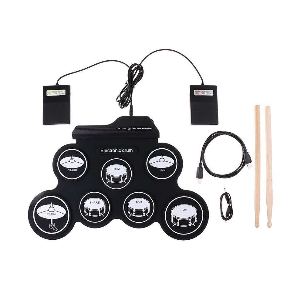 Healifty Electronic Drum Set Silicone with 7 Pads Drum Sticks Foldable Drum Kit with USB Jack (Black)