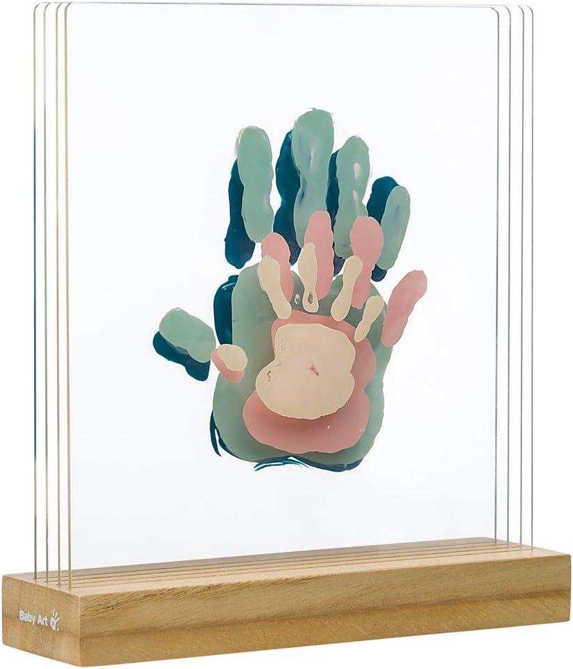 Baby Art My Family Prints - Kit de impresión para crear la huella de las manos de toda la familia, original idea regalo nacimiento, con base de madera