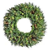 Vickerman 30'' Cheyenne Pine Artifical Christmas Wreath - Warm White LED Lights