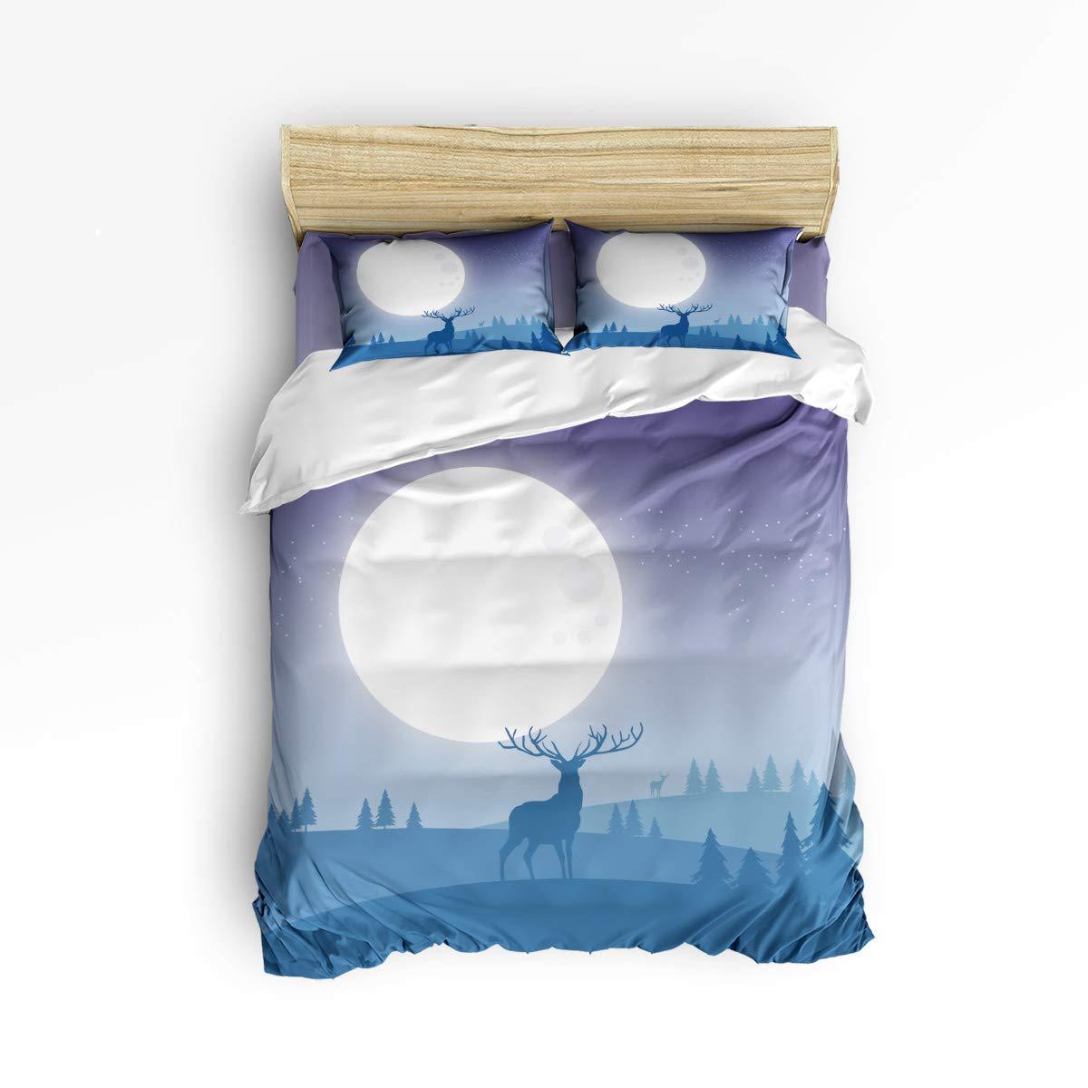クイーンエリア寝具4点セット スーパーソフト 暖かい 高級 昼寝用ダウン生地 掛け布団カバーセット 夜空 ギャラクシー 山の景色 クイーン gml181122-queen-003SSTW01207SJTCQAA B07KS5S6LY Reindeer Silhouetteqaa5385 クイーン