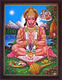 Lord Hanuman Doing Meditation At River End, Wearing Garland and Mukut, a Holy Hindu Religious Poster Painting with Frame for Worship Purpose.
