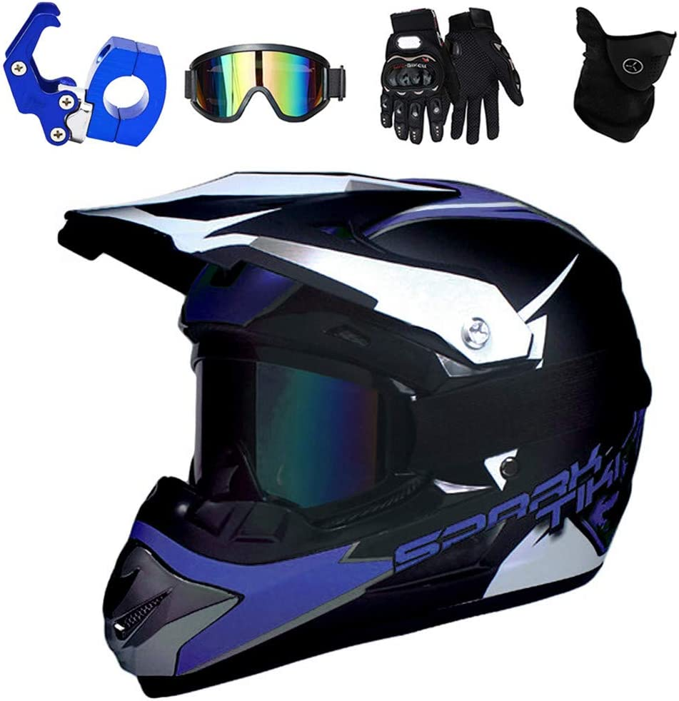 Downhill-Motorradhelm mit Brille MTB Integral BMX Quad Enduro ATV Scooter SK/_LBB Kinder Motocross Helm gr/ün schwarz, S Sturmhauben und Handschuhe