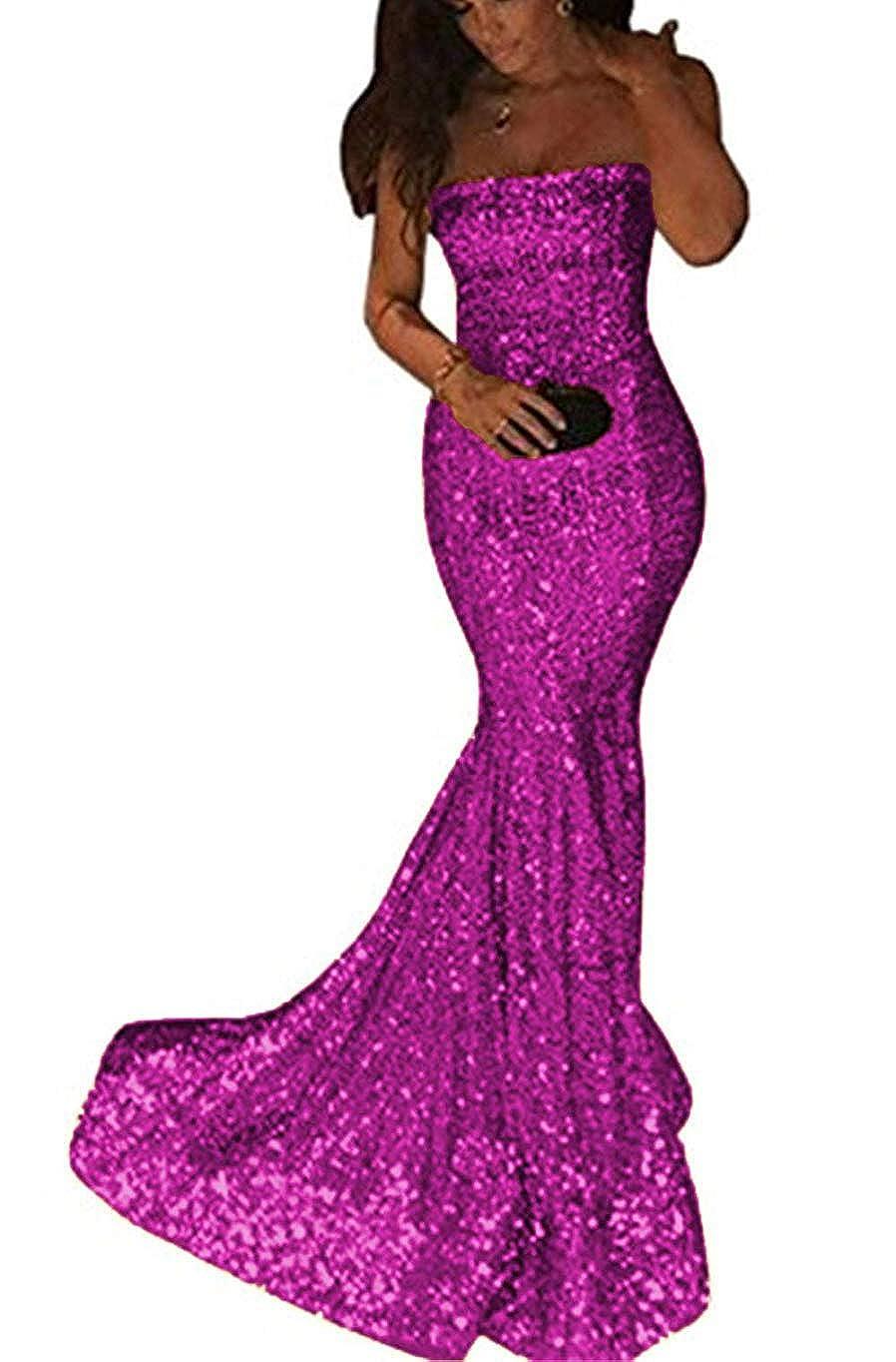 Fuchsia ZLQQ Sequins Mermaid Prom Bridesmaid Dress Strapless Long Evening Party Dress for Women