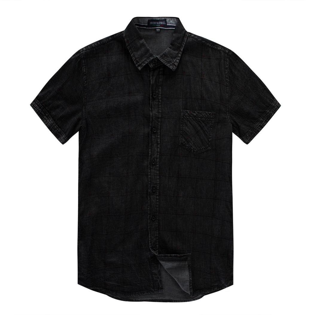 Amazon.com: ihph7 para hombre blusa, bloque Casual botón o ...