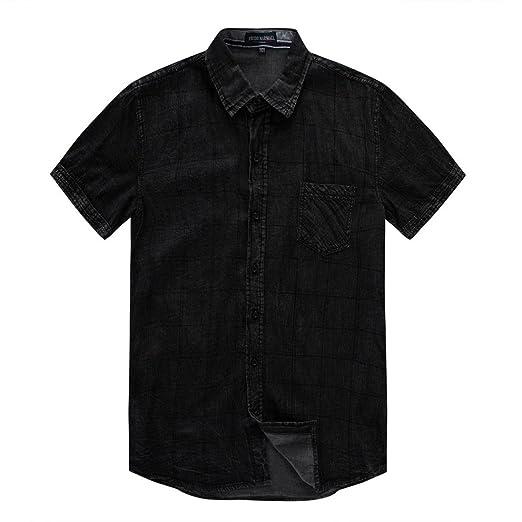 6c8a80e0ae4 iHPH7 Mens Blouse, Block Casual Button O Neck Pullover Short Sleeve ...