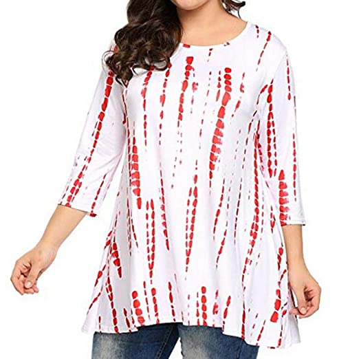8ce96f798e97c ManxiVoo Women s Casual Blouse Plus Size 3 4 Sleeve Printing Tunic Top  Loose Shirts (