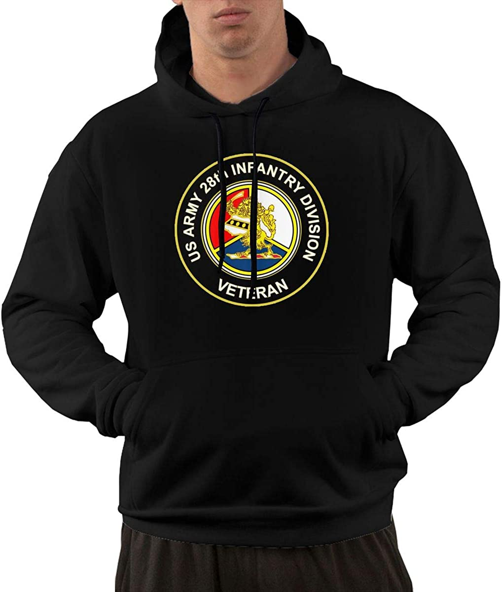U.S Army Veteran 28th Infantry Division Mens Front Pocket Pullover Cotton Hoodie Sweatshirts