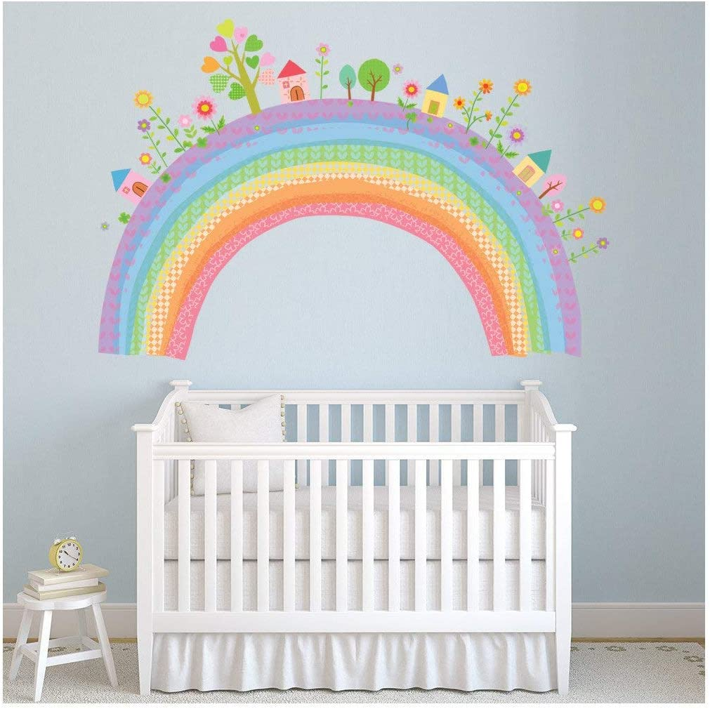 City Rainbow Wall Sticker Childrens Wall Decal Nursery Home Decor available in 8 Sizes X-Small Digital