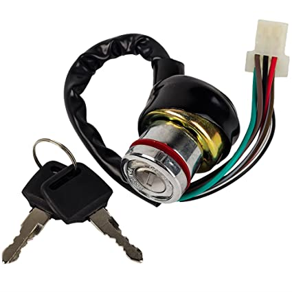 amazon com : hifrom(tm ignition key switch 6 wire 50cc 70cc 90cc 110cc  125cc falcon roketa atv : garden & outdoor