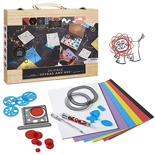 FAO Schwarz Premium 24-Piece Kids Spiral Art Set Engaging, Creative & Educational Drawing, Crafts Kit For Preschoolers, Includes Tracers, Colorful Paper Pad, Multicolor Pen & Wheeled Shapes]()