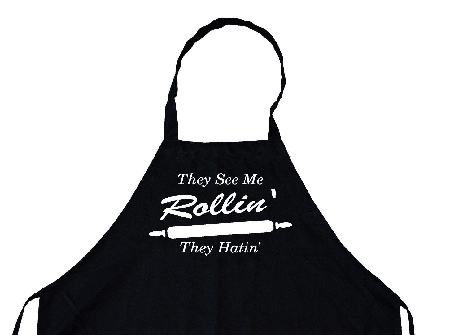 They See Me Rollin They Hatin Personalized Chef 's面白い料理エプロン(ブラック) キッチン、BBQグリル、通気性、洗濯機で洗濯可   B078T57LNP