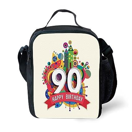 IPrint School Supplies 90th Birthday DecorationsFunky Pop Geometrical Fun Celebration Cute Colorful Greetings