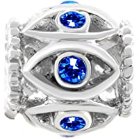 Q&Locket Good Luck Charm Blue Evil Eye Hamsa Hand Fatima Charms for Bracelet