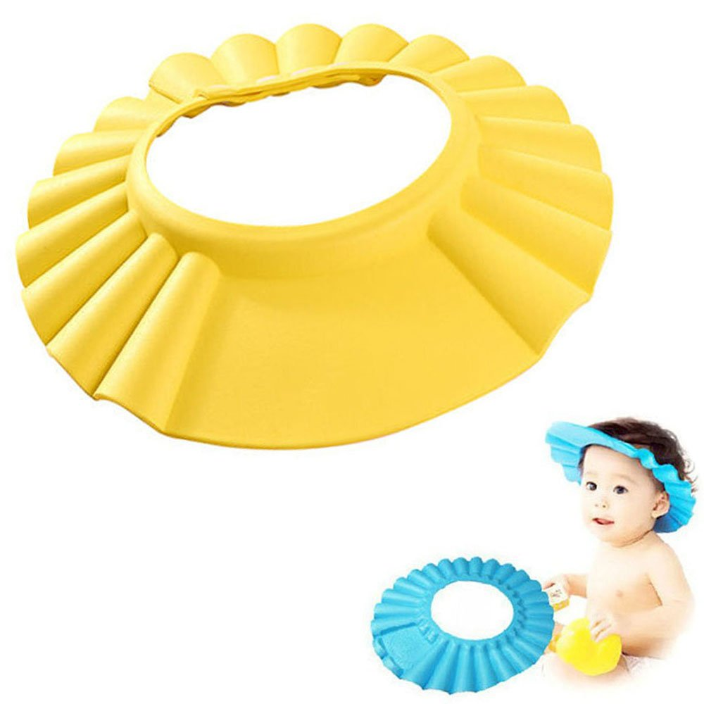 Baby Shower Cap Adjustable Waterproof Safe Shampoo Protect Soft Hat Wash Hair Shield for Baby Children Kids (Yellow, 1pcs) Suces
