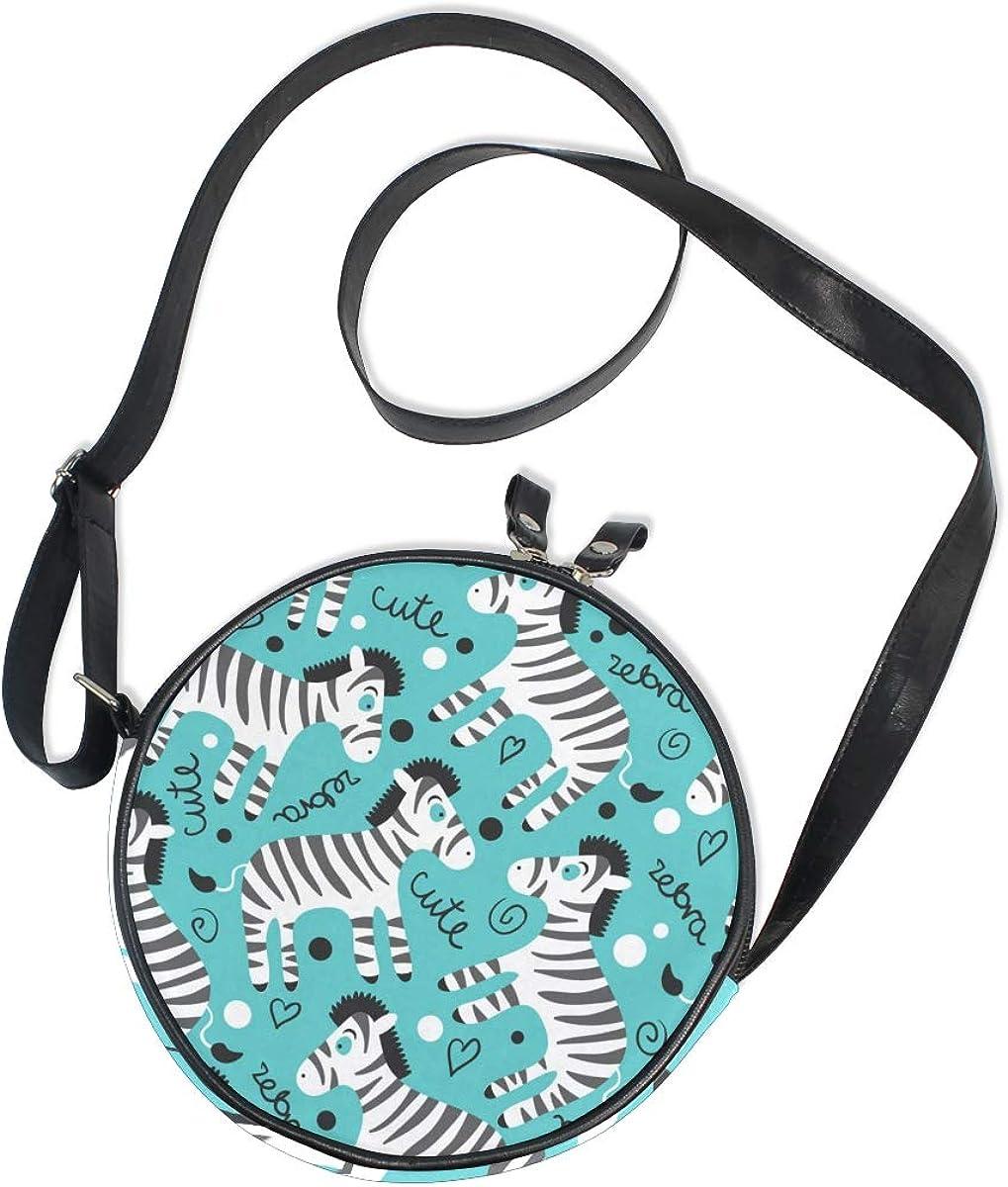 KEAKIA Cute Zebras Round Crossbody Bag Shoulder Sling Bag Handbag Purse Satchel Shoulder Bag for Kids Women