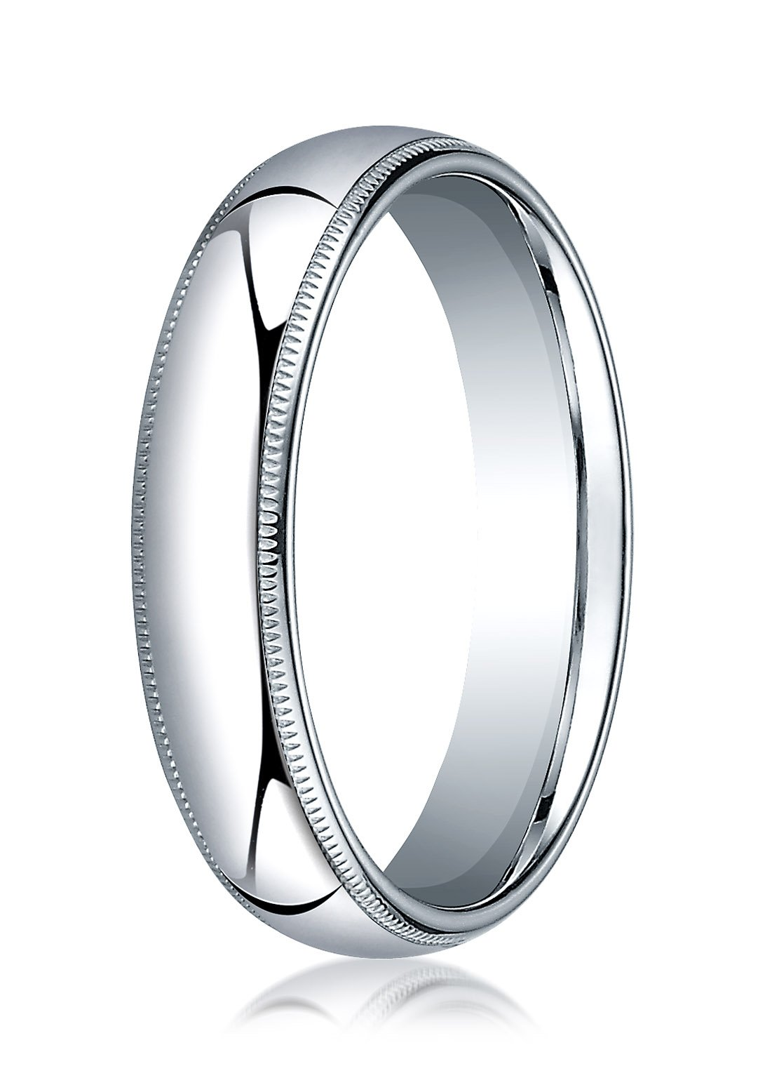 Mens 10K White Gold, 5mm Slightly Domed Comfort-Fit Ring with Milgrain (sz 13.5)