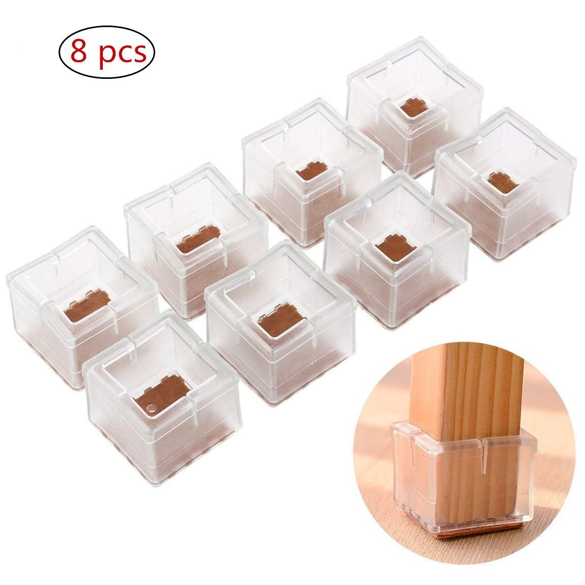 FABSELLER Transparent Square Chair Table Leg Caps, Rubber Feet Cups Pads  Table Covers Wood Floor Silicone Protectors Furniture Feet Covers (6Pcs)