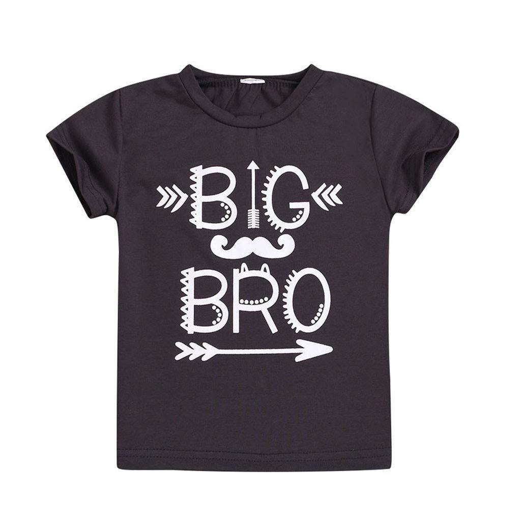 NUWFOR Children Kids Boy Infant Short Sleeve Letter Printed T-Shirt Tops Clothes(Black,18-24 Months)